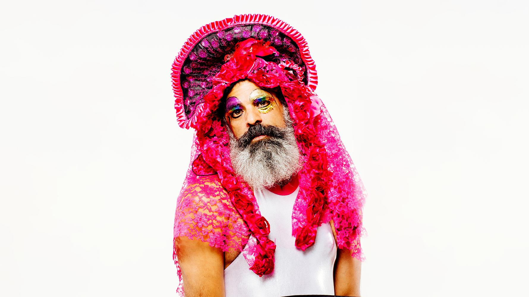 Antonio Ramos in a pink mantilla