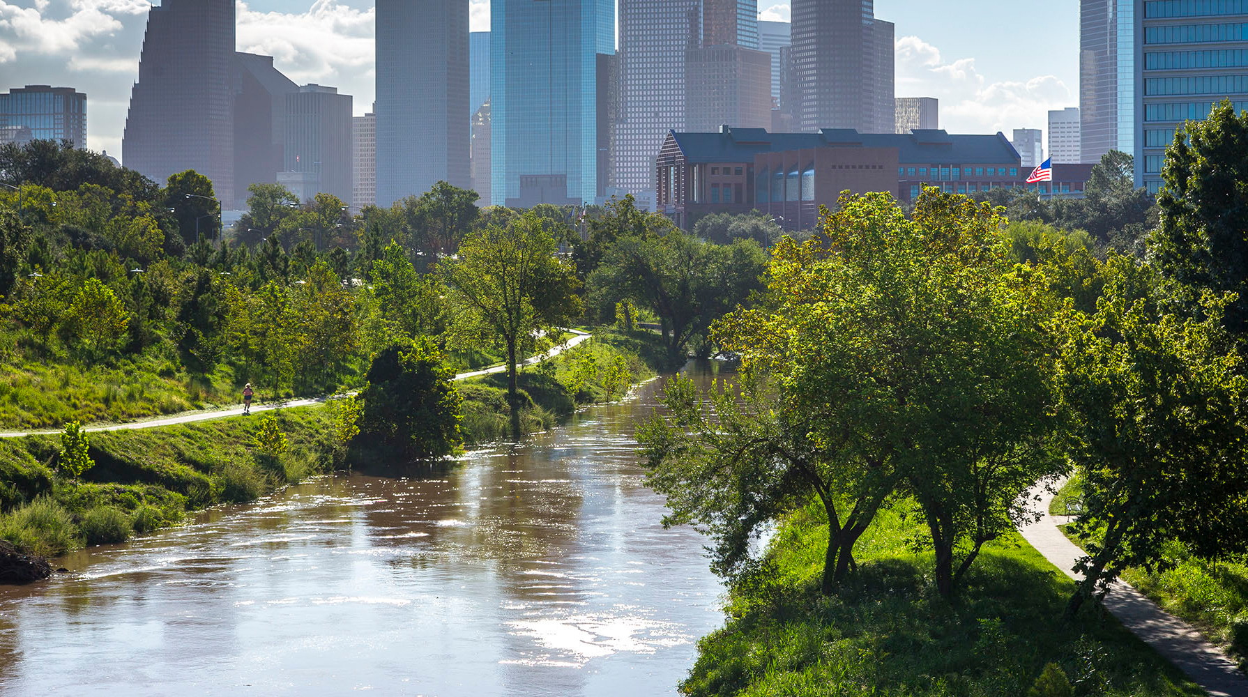 A cityscape against a river