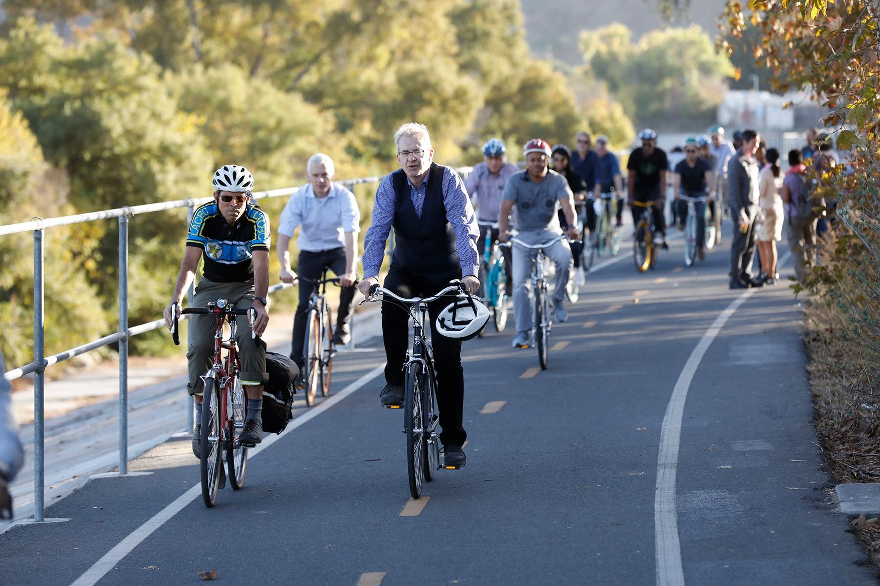 Bike riders along the LA River